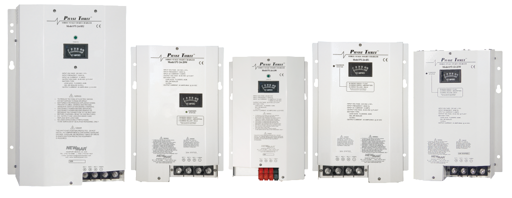 Mobile Mount Phase Three Series Battery Chargers, 12V DC and 24V DC, 0 amps to 95 amps for public safety and industrial applications by Newmar Powering the Network