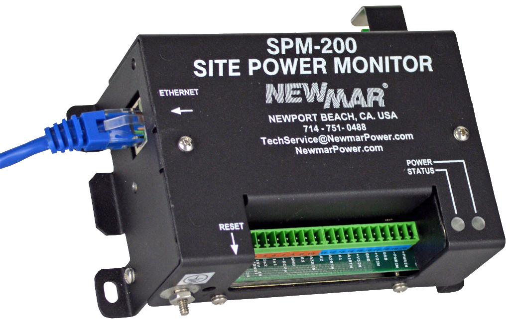 Site Power Monitor, model SPM-200, Remote Site Monitoring Of Critical DC Power Conditions by Newmar Powering the Network