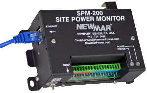 Remote Site DC Power Monitor, model SPM-200, allows you to remotely DC, AC and sensors including a camera or door alarm by Newmar Powering the Network