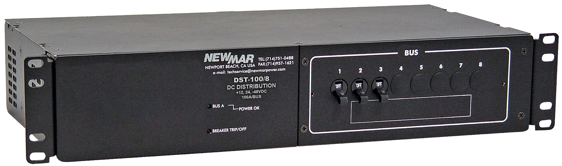 Rack mount DC Circuit Breaker panel, 100 amp, 8 Circuit, model DST-100/8, for Telecom, Public Safety, Broadband and industrial applications image by Newmar Powering the Network