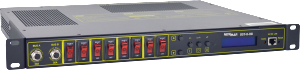 Powering and Monitoring the Network with Newmar's Rackmount Circuit Break with Reboot Control, model DST-8-RB by Newmar