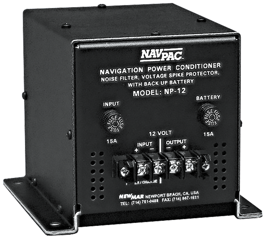 DC Power Stabilizer Nav-Pac, 12V DC and 24V DC, 20 Amps protects mobile electronics from engine start with battery back-up for public safety and utility vehicles by Newmar Powering the Mobile Network