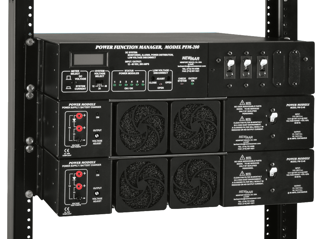 Rack Mount Power Module Series, 12V DC, 24V DC and 48V DC with Power Function Manager, model PFM-500, integrated DC Power System image by Newmar Powering the Network