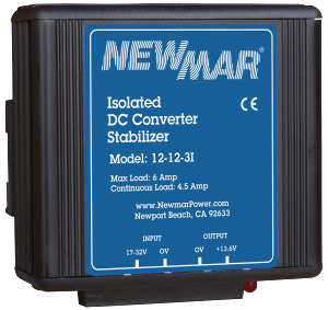 Newmar Powering the Network with DC Stabilizing DC-DC Converters, 12V DC, 24V DC, and 48V DC, 3 - 35 amps helps stabilize DC current for critical electronics