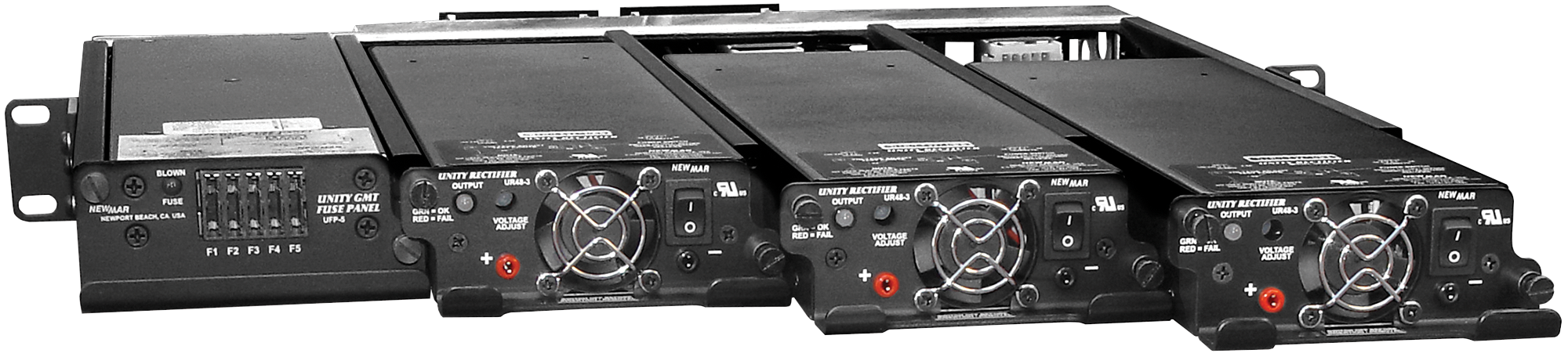 24 and 48 Volt, 150 – 450 Amps, N+1 Redundant, Rackmount DC Power System, Model Unity Rectifier System by Newmar Powering the Network