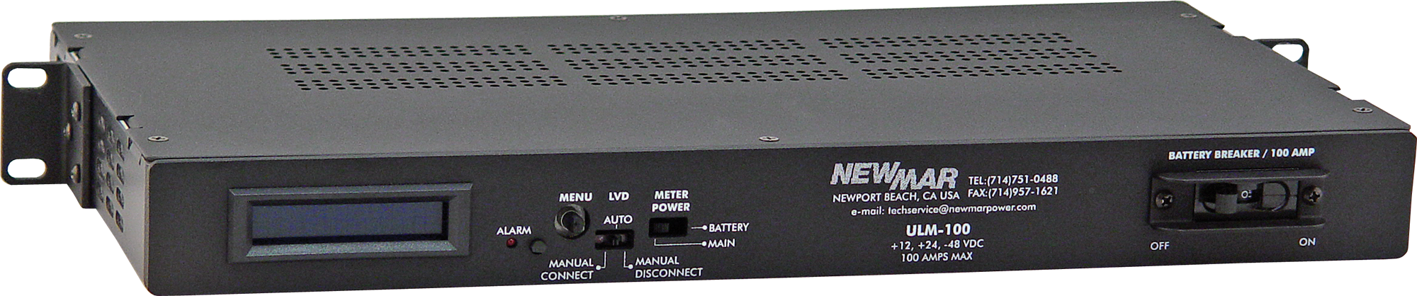 Rack Mount Low Voltage Disconnect and Monitor, model ULM-100, image by Newmar Powering the Network