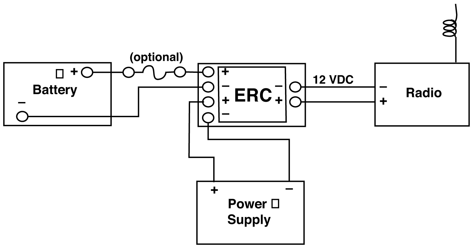 Emergency Relay/Charger Series Allows for Emergency Tie-in to Battery for Radio that Operates on Power Supply, 12V DC and 24V DC, 15 amps to 35 amps Typical Application Illustration by Newmar Powering the Network
