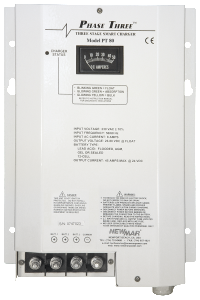 12VDC, 24V DC, and 32V DC, Mobile and Wall Mount Battery Chargers, Phase Three Series (PT Series), 7 amps to 95 amps output by Newmar Powering the Network