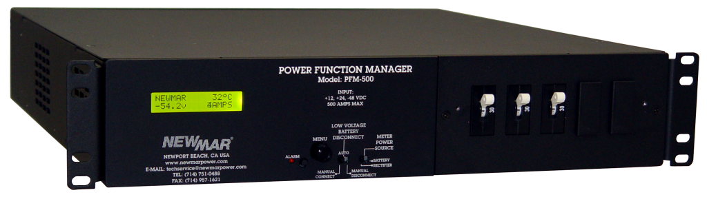 Power Function Manager, 12V DC, 24 DC and 48V DC, 500 Amps, model PFM-500, intregrates power supplies into a fully integrated and multifunctional power system by Newmar Powering the Network