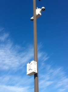 Tapping into Light Pole Power for a DIN Rail DC UPS System For Wireless Cameras utlizing DIN Rail DC UPS, DIN Series by Newmar Powering the Network
