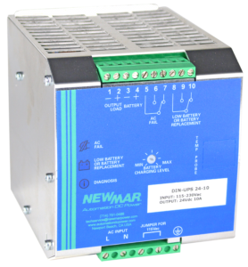 DIN Rail Mount DC Power System and DC UPS, 12V DC, 24V DC and 48V DC with 5 amps to 35 amps output by Newmar Powering the Network