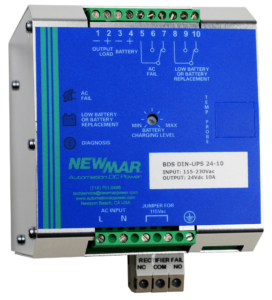 DIN Rail Mount Power Supply, DC UPS and Battery Detection System for NFPA 1221 in-building requirements, 12V DC, 24V DC and 48V DC, 10 amps by Newmar Powering the Network