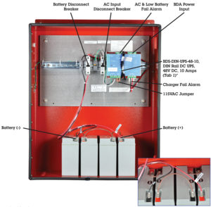 Public Safety DAS Power PE Series Enclosures NFPA 1221 In Building Standards 48 VDC, 480 Watts, 18 Amp/Hours by Newmar Powering the Network, model PE48V480W18AH