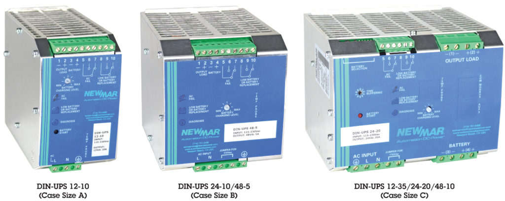 Newmar DIN Rail DC UPS, 12V, 24V and 48V DC, 5-35 Amps