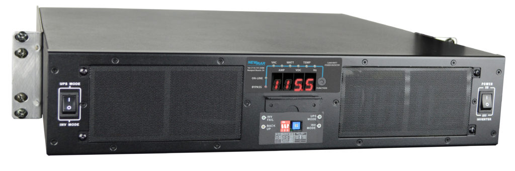 Powering the Network by Newmar with 3000 watt output, 48VDC input rackmount, 2RU DC-AC Power Inverter, model 48-3000RM