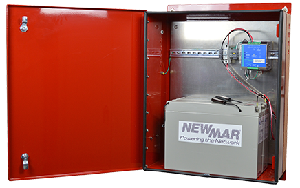 DIN Rail DC UPS for battery back-up in a wall or pole mounted enclosure PE Series for public safety NFPA 1221 Standards for In-Buidling BDAs by Newmar Powering the Network