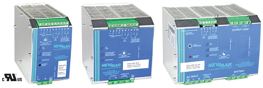DIN Rail DC UPS 12VDC, 24VDC, 48VDC, 5-35 Amps, 12VDC UL Recognized Newmar Powering the Network