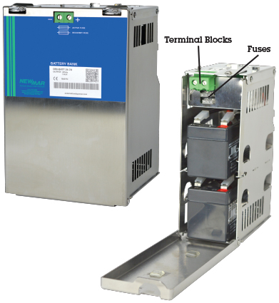 DIN Rail Mount Battery Cases and Batteries for DC UPS Systems, 24VDC and 48VDC 1.2 Amps by Newmar Automation DC Power