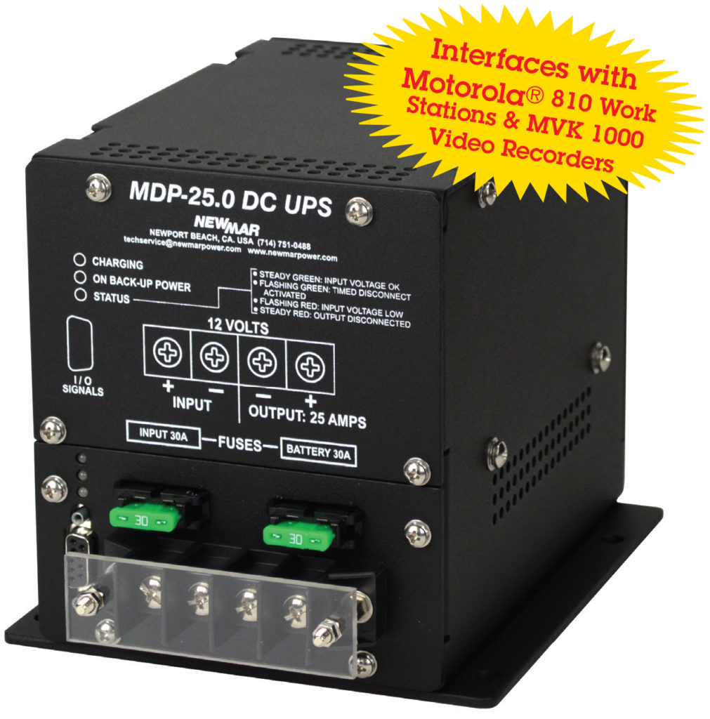 Mobile Data Power provides DC Back Up Power, 12V DC, 25 Amps, with battery back-up, model MDP-25.0 by Newmar Powering the Network