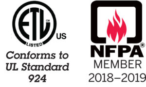 UL Certification Logo and NFPA Member Logo for PE Series Power Enclosures by Newmar Powering the Network