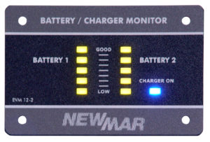 Battery / Charger Monitor, 12V DC, 2 Battery Banks for use with Newmar PT-40