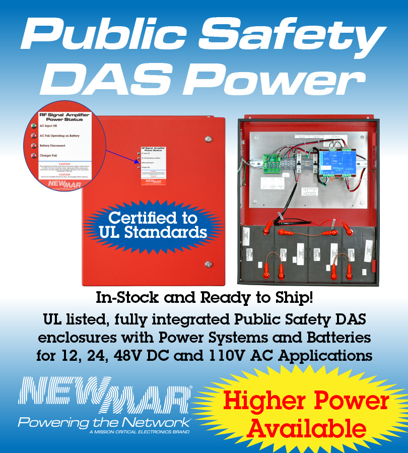 Public Safety DAS Power PE Series Enclosures NFPA Compliant, UL Certified In-Building Battery Back-Up Power, 12V DC, 24V DC, 48V DC, 110 VAC 120 - 1200 Watts by Newmar Powering the Network