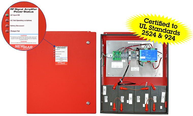 PE UL 2524 Series Public Safety Battery Back-Up (BBUs) with NFPA compliant alarms in 12V DC, 24VDC and 48V DC and 110V AC, 18-100 Amp-Hour by Newmar Powering the Network image