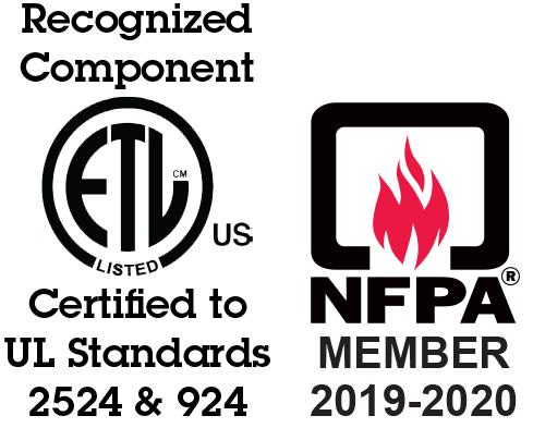 Certified to UL Standard 2524 and UL Standard 924 and NFPA Member Logo for PE Series Power Enclosures by Newmar Powering the Network