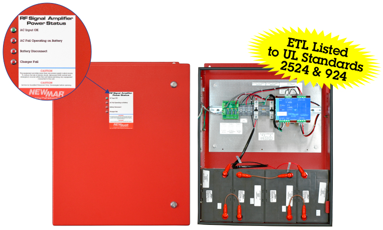 PE Series Power Enclosures, 12V DC, 24V DC, 48V DC, NFPA 1221 Compliant, Certified to UL Standard 2524 and UL Standard 924 Battery Back-up For Public Safety DAS by Newmar Powering the Network