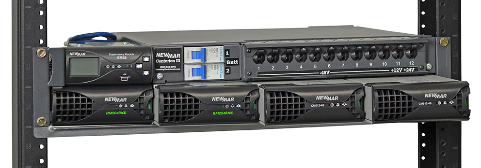 Centurion III DC Power System and DC-DC Converter by Newmar Powering the Network. 12V DC, 24V DC and 48V DC all at one time, 4000 watts total, 2000 Watts N+1 Redundant System