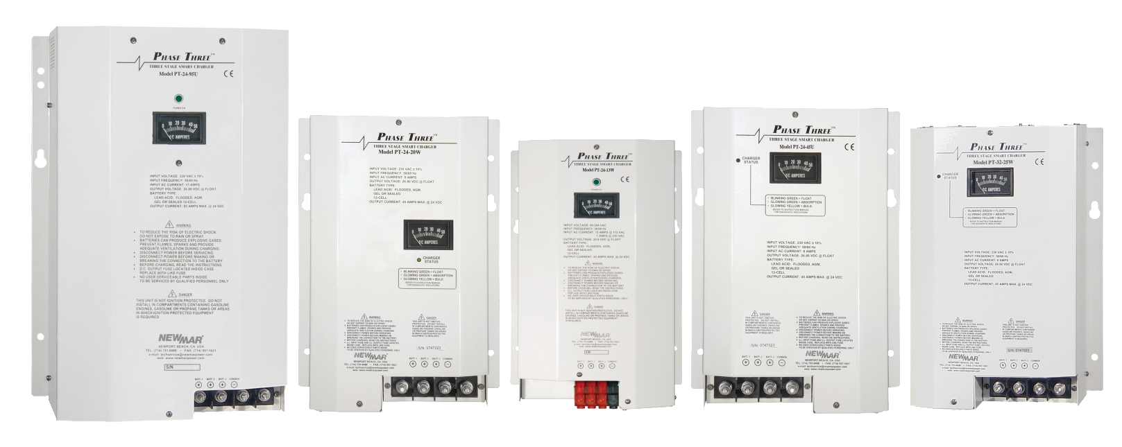 Phase Three Battery Chargers for mobile applications, 12V DC, 24V DC and 32V DC, 7 - 95 amp power rating by Newmar Powering the Network
